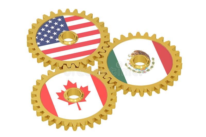 Norr - amerikansk union, NAU-begrepp på kugghjul stock illustrationer