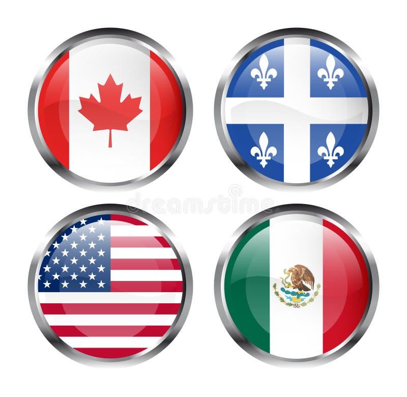 norr amerikanska flaggan royaltyfri illustrationer