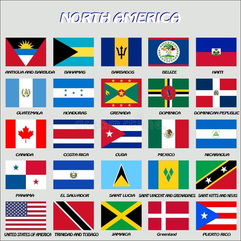 Norr - amerikanska flaggan, vektor stock illustrationer