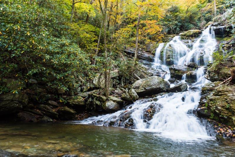 Norr Carolina Saluda Waterfall i säsongen av hösten royaltyfri foto