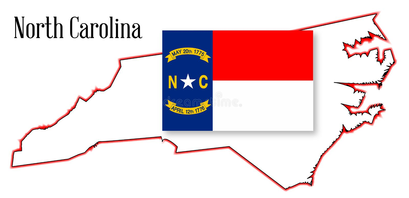 Norr Carolina State Map och flagga royaltyfri illustrationer