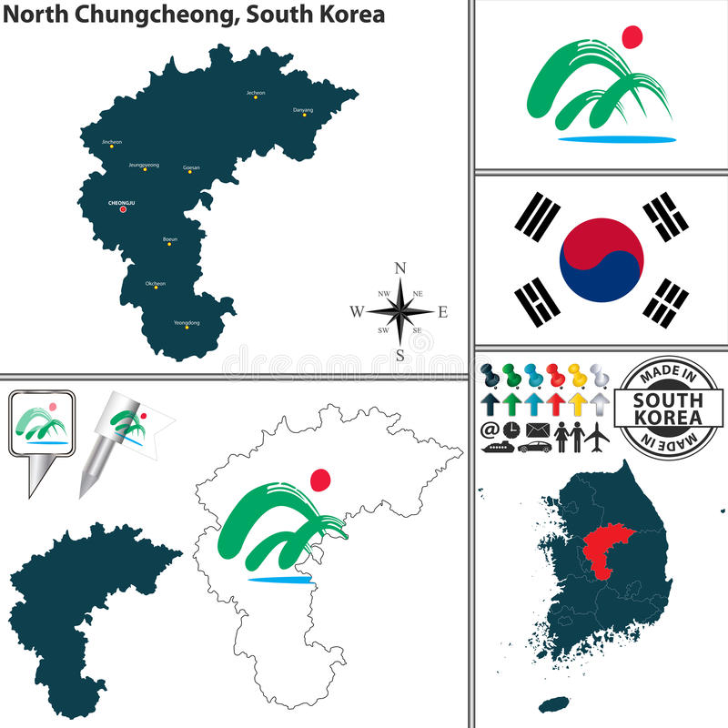 Norr Chungcheong landskap, Sydkorea vektor illustrationer