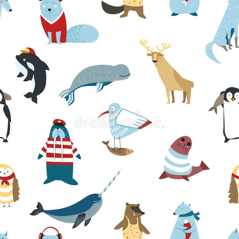 Norr djurfåglar och att fiska sömlösa modelldjurlivdäggdjur vektor illustrationer