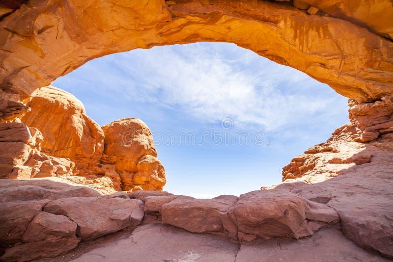 Norr fönster i bågar nationalpark, Utah royaltyfri foto