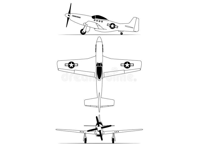 Norr - illustration för airplance för mustang WW2 för amerikan P-51D vektor illustrationer