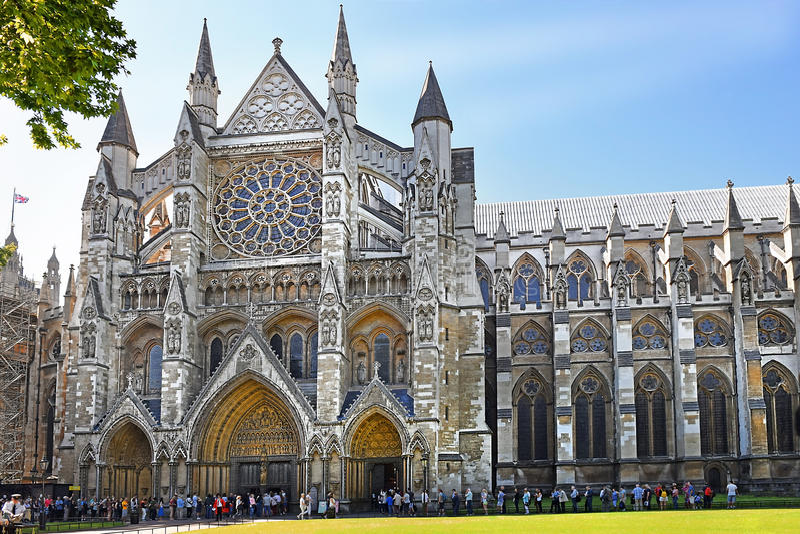 Norr ingång av den Westminster abbotskloster i London arkivfoto