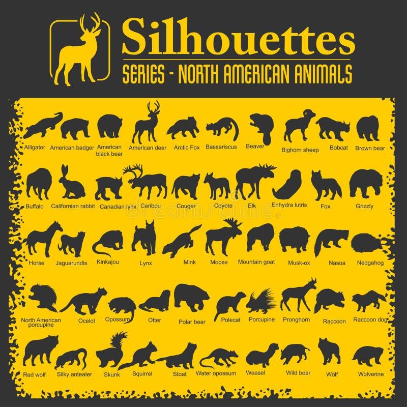 Norr konturer - - amerikanska djur stock illustrationer