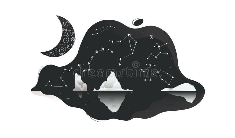 Norr landskapnatthimmel med den plana vektorillustrationen för stjärnor och för isberg isolerade royaltyfri illustrationer