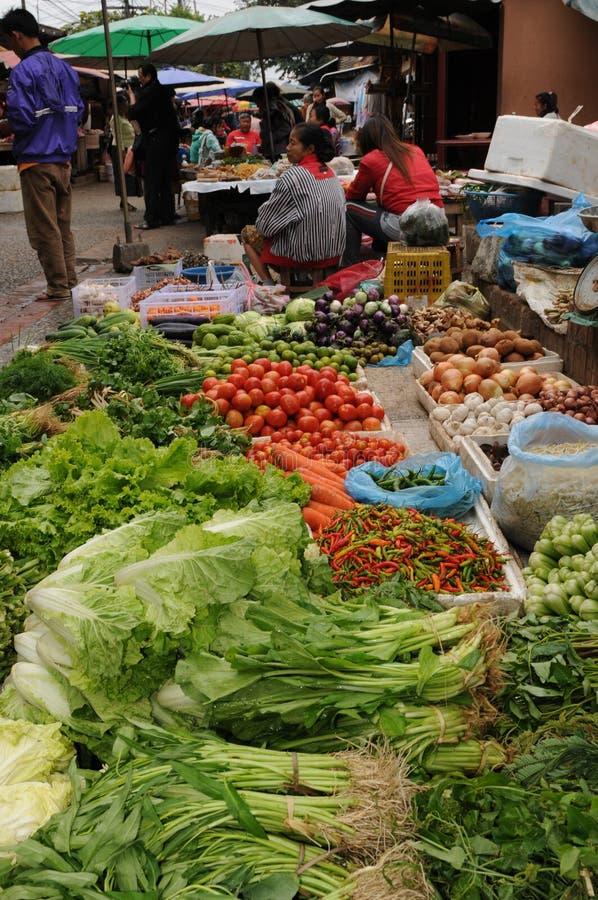 Norr Laos: Bondekvinna som säljer nya grönsaker, kryddor och herbes på marknaden i Luang Brabang arkivbild