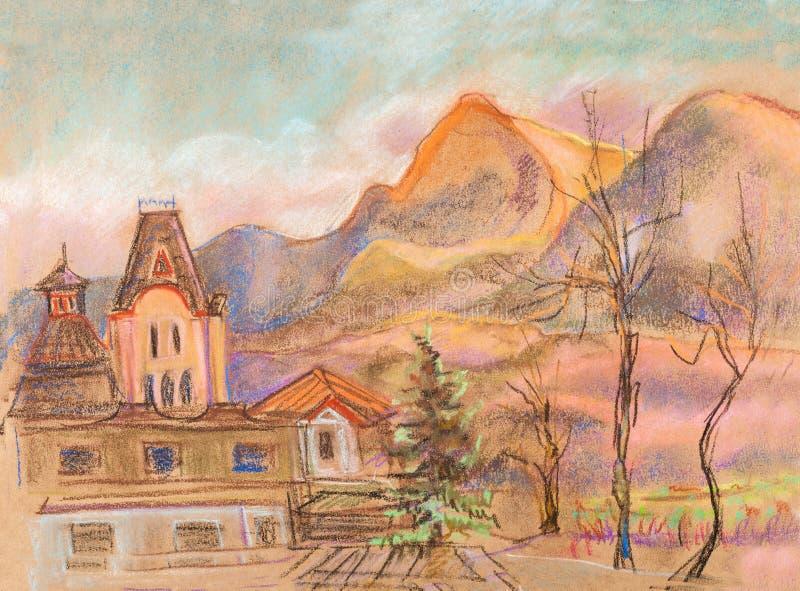 norr panorama för caucasus liggandeberg royaltyfri illustrationer