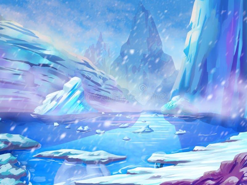 Norr polart snöland med fantastisk, realistisk och futuristisk stil stock illustrationer