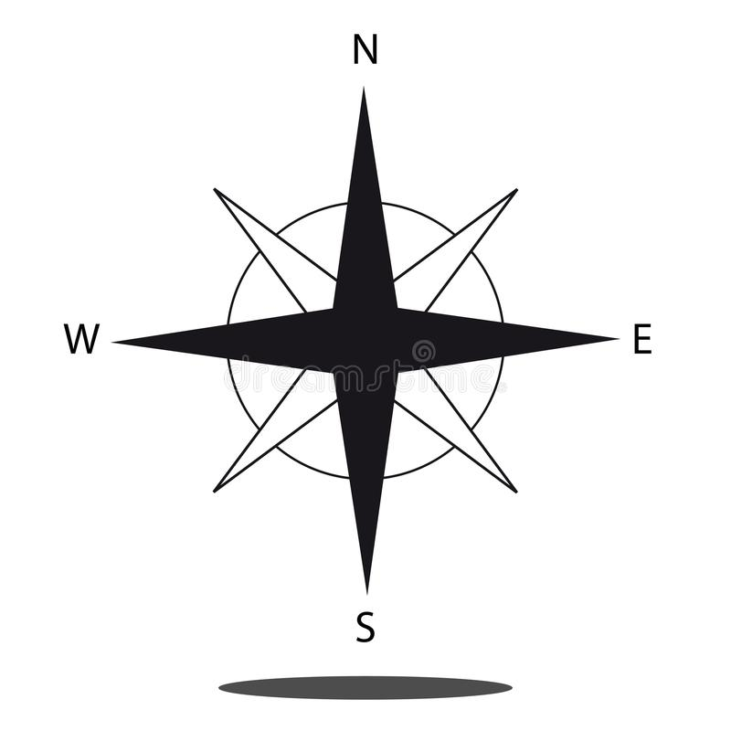 Norr riktningskompasssymbol - vektordiagram som isoleras på vit bakgrund vektor illustrationer