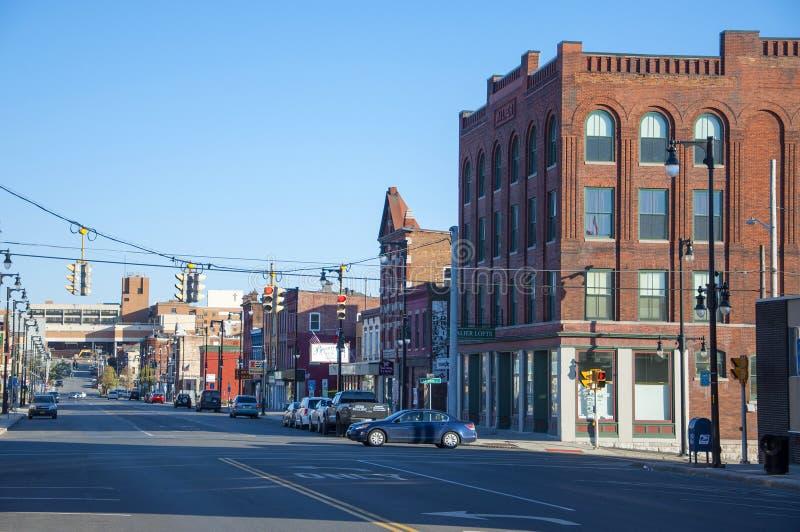 Norr Salina Street, Syracuse, NY fotografering för bildbyråer