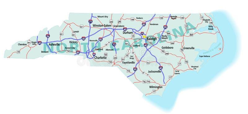 norr tillstånd carolina för interstate översikt stock illustrationer