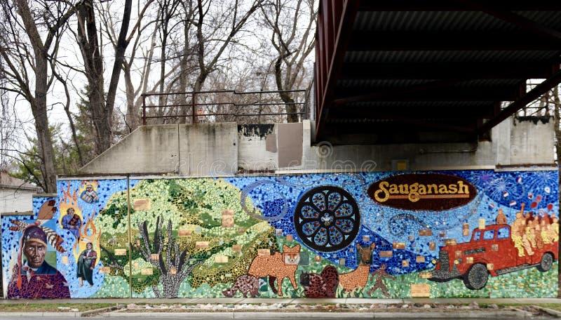 Norr väggSauganash väggmålning arkivfoto