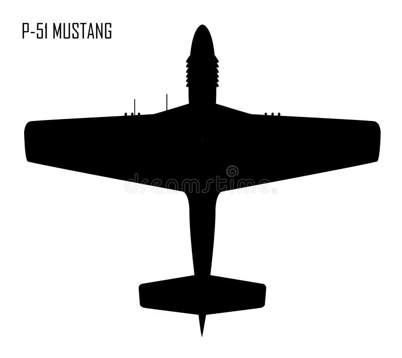 Norr världskrig II - - amerikansk mustang P-51 royaltyfri illustrationer