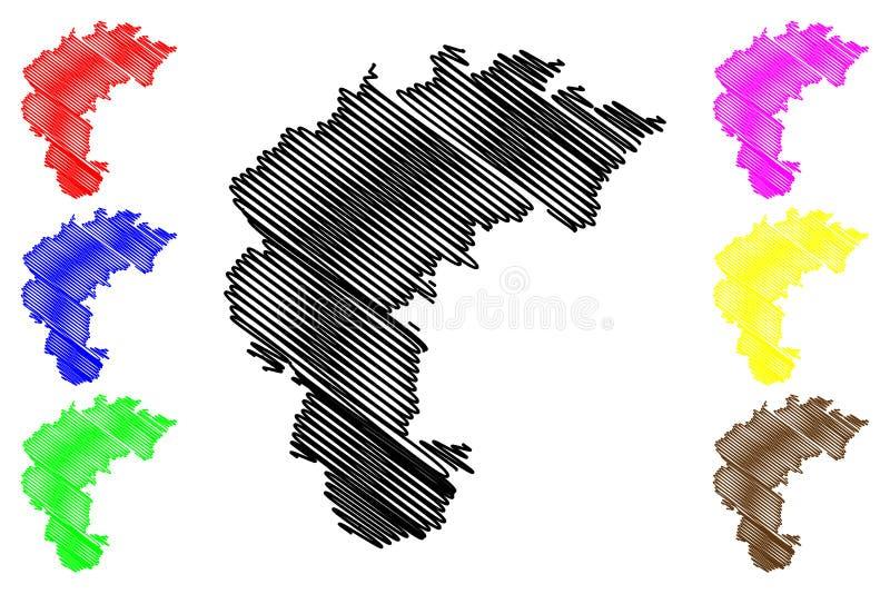 Norr vektor för Chungcheong landskapöversikt royaltyfri illustrationer