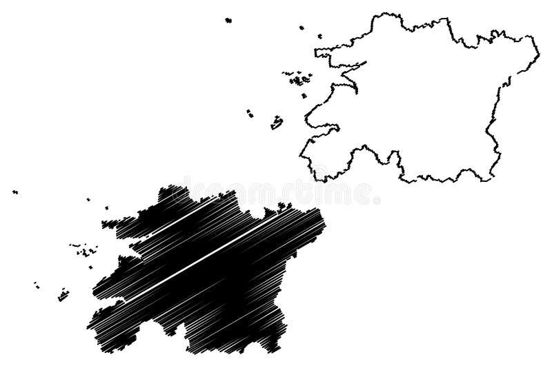 Norr vektor för Jeolla landskapöversikt vektor illustrationer
