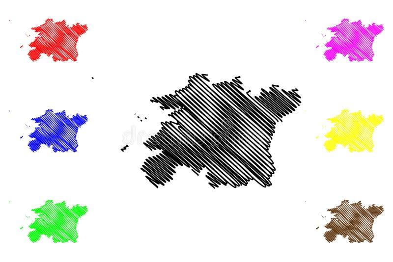 Norr vektor för Jeolla landskapöversikt royaltyfri illustrationer