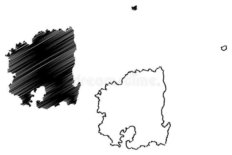 Norr vektor f?r Gyeongsang landskap?versikt stock illustrationer