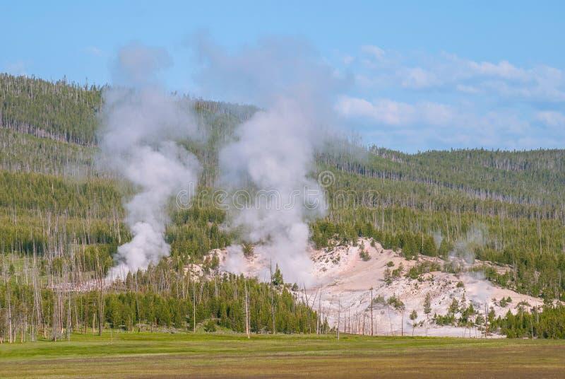 Norris Geyser Basin; Yellowstone Nationaal Park, Wyoming, de V.S. stock foto