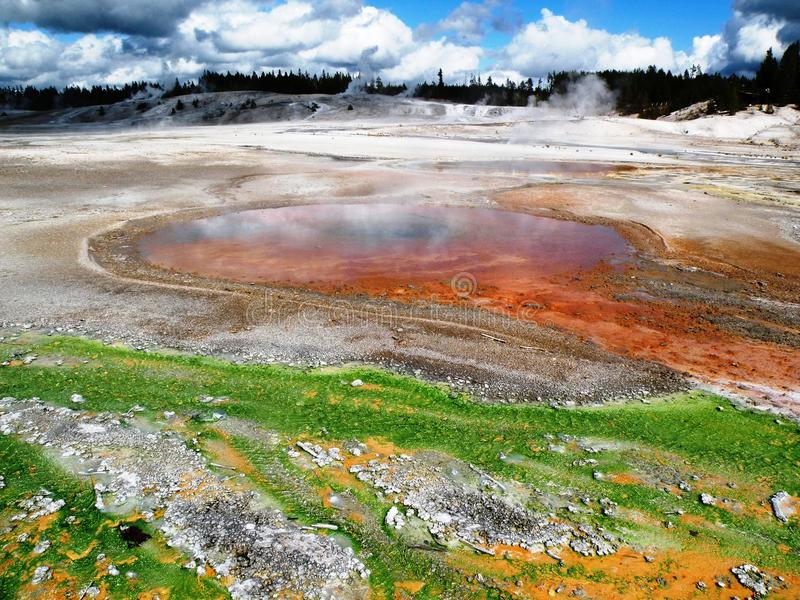 Norris Geyser Basin. In Yellowstone National Park in late August. Colourful spills look like abstract art stock image