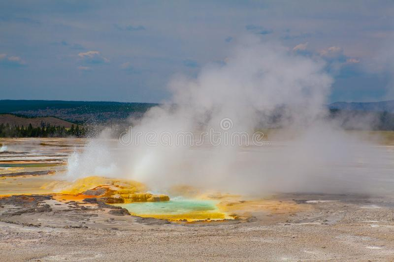 Norris Geyser Basin in Yellowstone National Park, Wyoming, USA. It is the the hottest geyser basin in Yellowstone royalty free stock photos