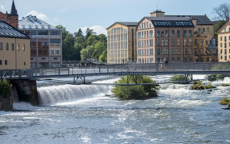 The old industrial landscape in Norrkoping, Sweden stock photography