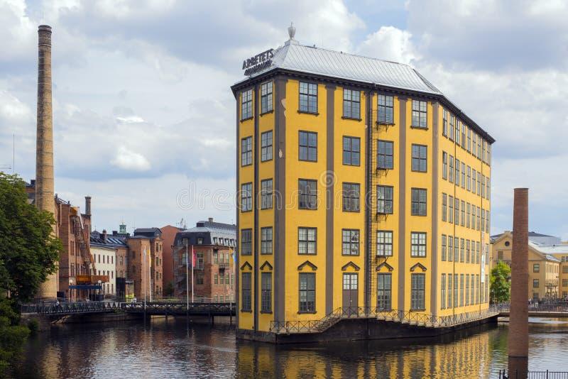 Norrkoping Szwecja, Augy 8 2017 -: Przemysłowy krajobraz wewnątrz Nor fotografia stock