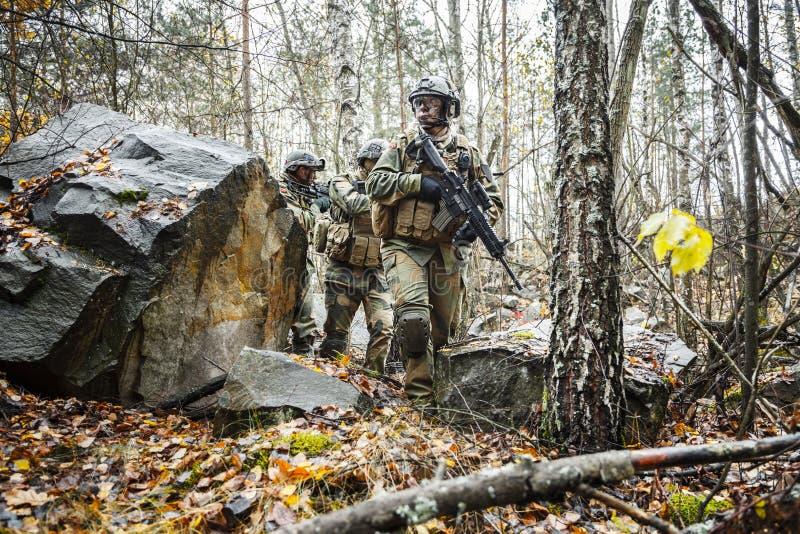 Norrmansoldater i skogen royaltyfria foton
