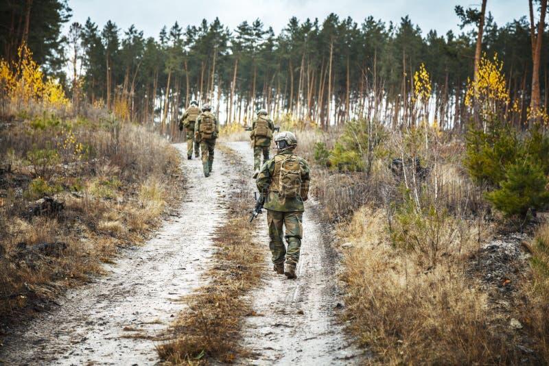 Norrmansoldater i skogen royaltyfri foto
