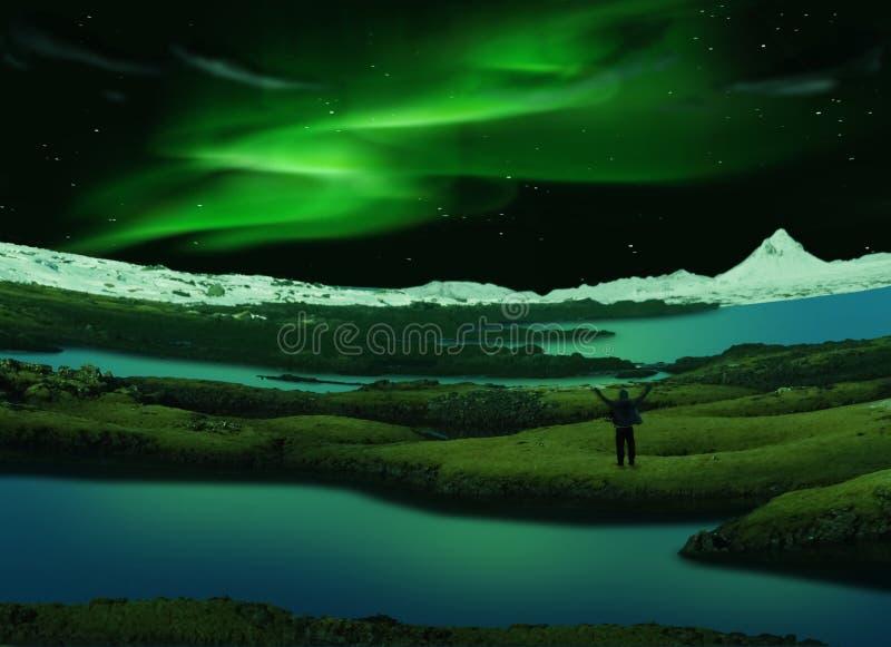 Norrsken Island royaltyfri fotografi