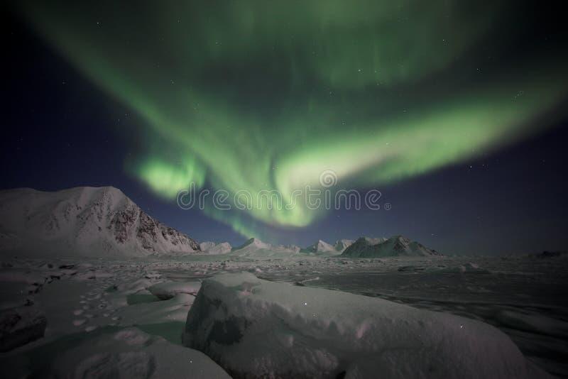 norrskenspitsbergen royaltyfri foto