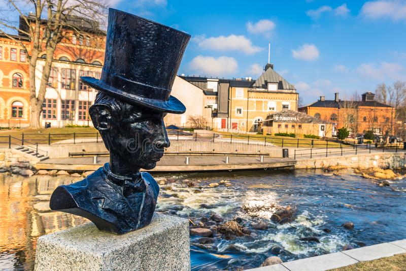 Norrtalje瑞典- 2017年4月1日:Norrtalje,瑞典老镇  免版税图库摄影