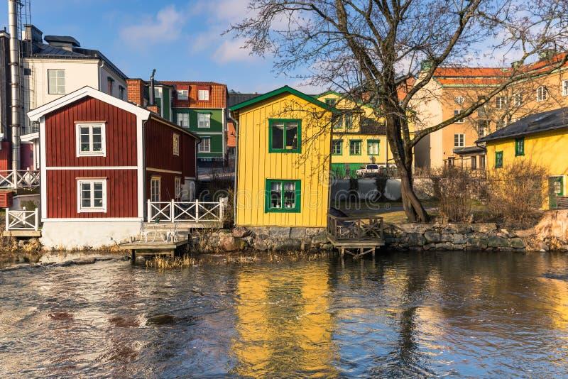 Norrtalje瑞典- 2017年4月1日:Norrtalje,瑞典老镇  库存图片
