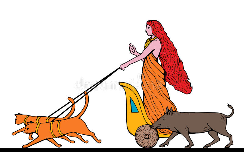 norse богини freya chariot кота иллюстрация штока