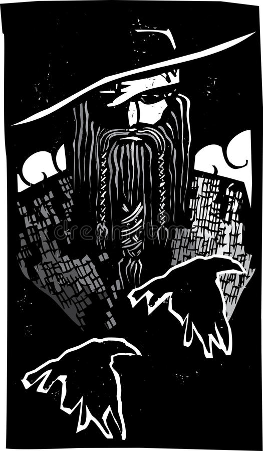 Norse God Odin With 2 Raven stock illustratie