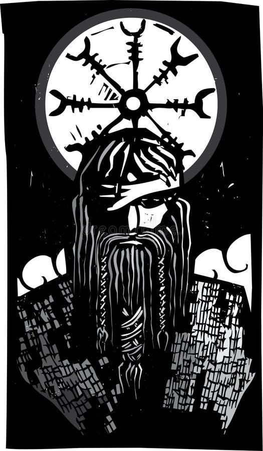 Norse God Odin And Wheel Symbol Stock Illustration Illustration Of