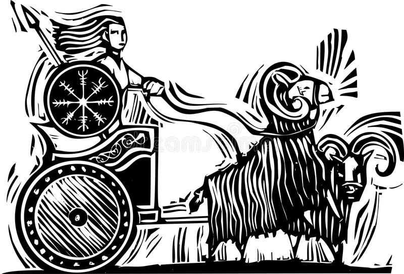Norse Goddess Frigg. Woodcut Style image of the Norse Goddess Frigg or Frigga riding in a chariot pulled by goats vector illustration