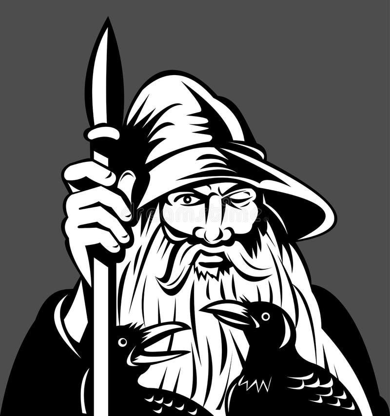 Norse spear van Odin van de God raven vector illustratie