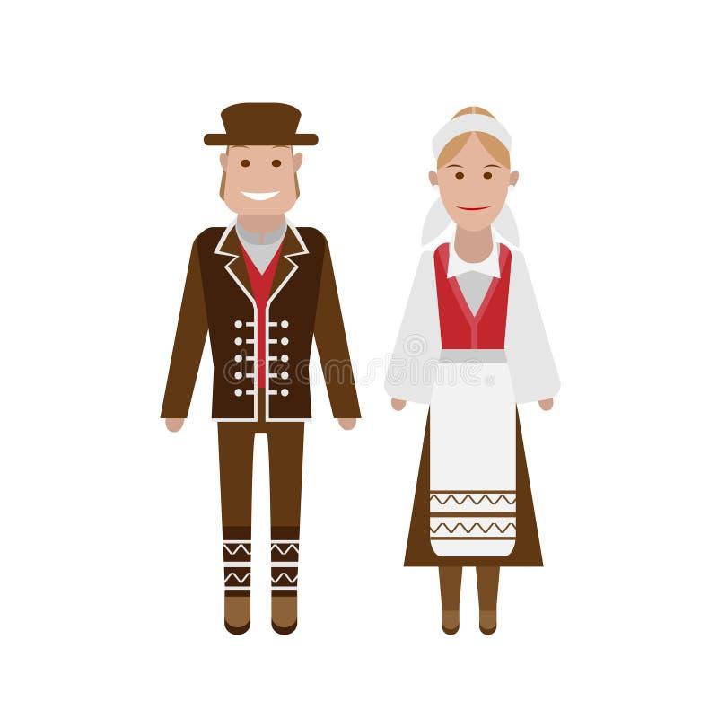 Norsk nationell dräkt stock illustrationer