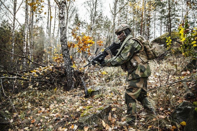 Norsk soldat i skogen fotografering för bildbyråer