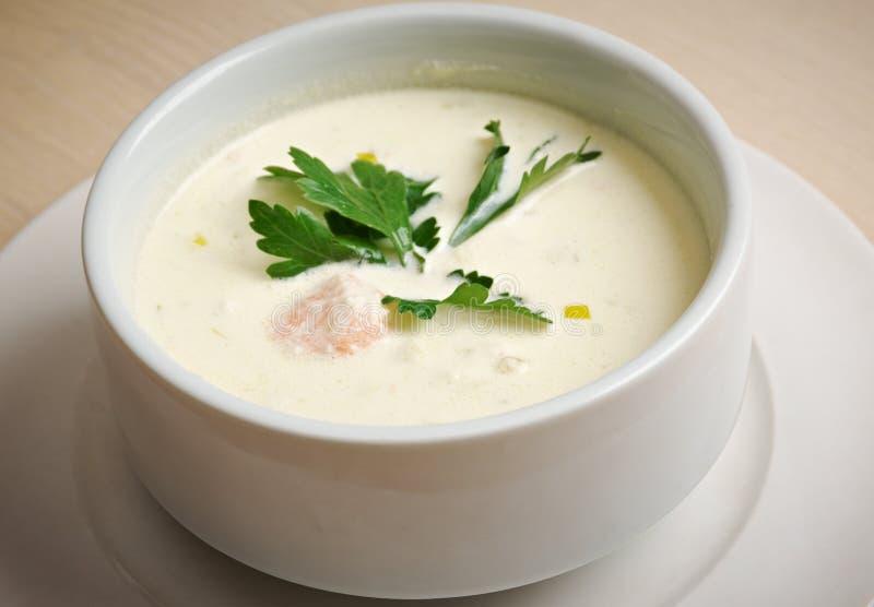 Norsk soppa med laxen royaltyfria bilder