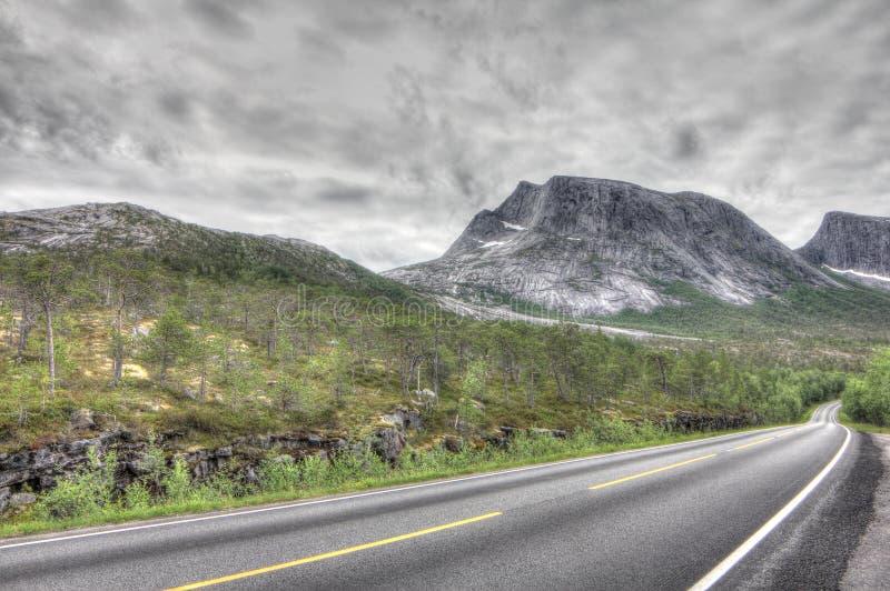Norskt landskap med vägen royaltyfria foton
