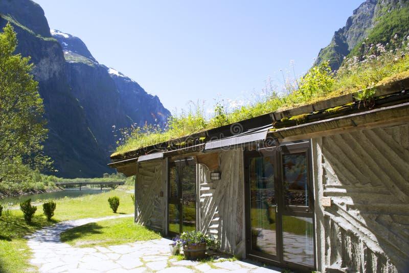Norskt landskap med vattenfall och berg royaltyfri foto