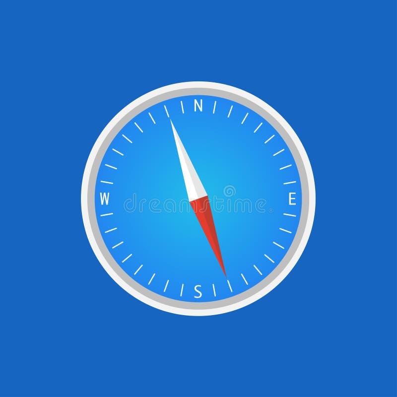 norte azul da exibição do fundo do projeto liso do compasso ilustração do vetor