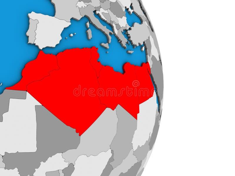 Norte de África no globo 3D ilustração royalty free