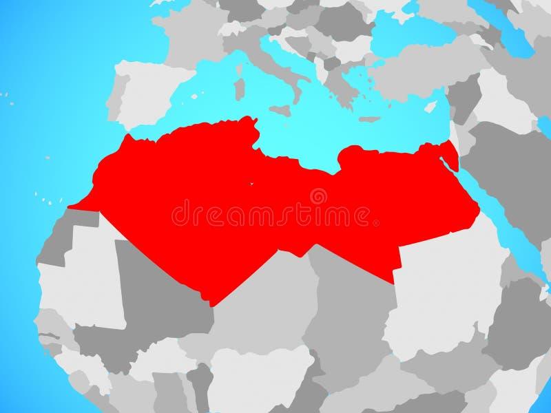 Norte de África no mapa ilustração do vetor