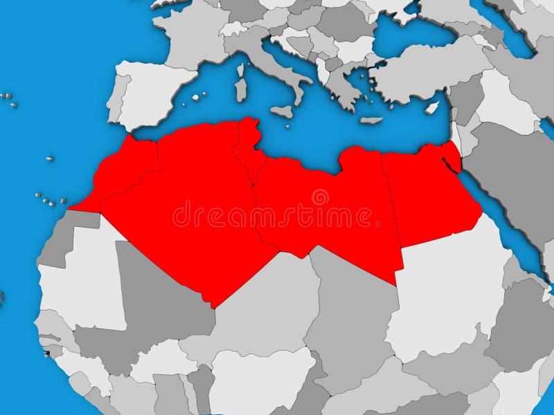 Norte de África no mapa 3D ilustração royalty free