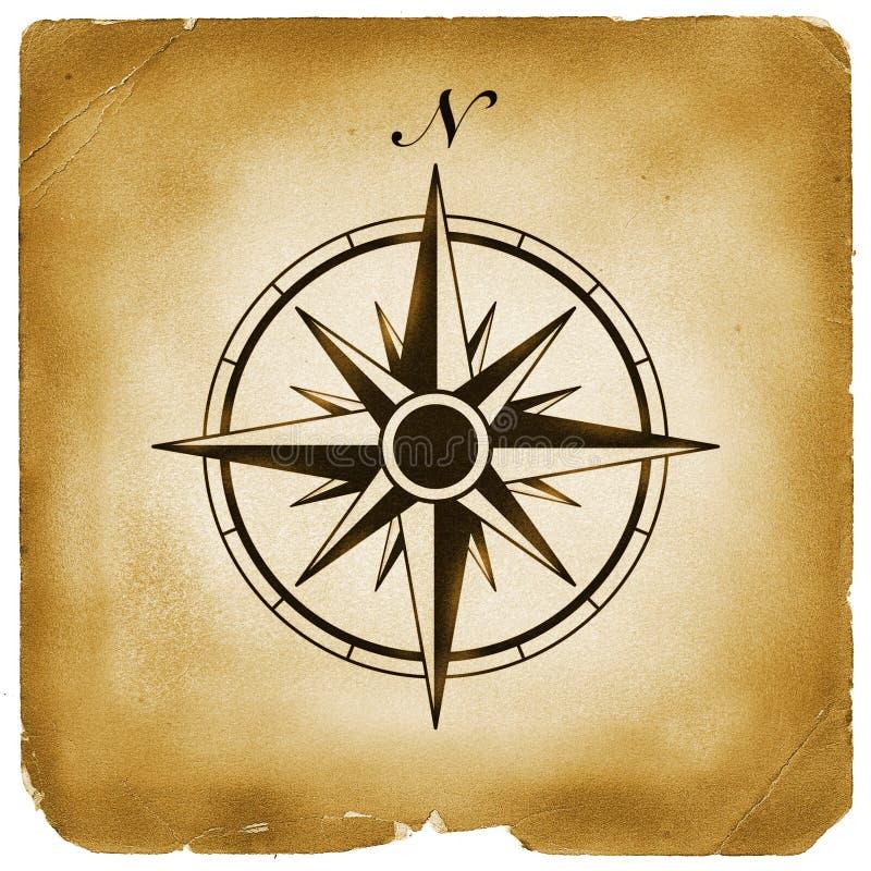 Norte de compasso no papel velho ilustração stock